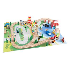 Hey! Play! Wooden Train Set with Play Mat