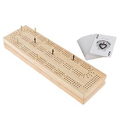 Hey! Play!  Wood Cribbage Board Game Set