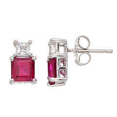Lab-Created Ruby & White Sapphire Sterling Silver Stud Earrings
