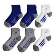Boys 4-20 adidas 6-Pack Quarter-Crew Cushioned Socks