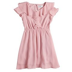 Girls 7-16 Lavender Chiffon Ruffled Dress