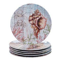 Certified International Sanibel 6-piece Melamine Dinner Plate Set