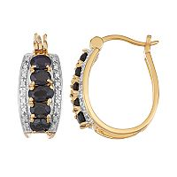 14k Gold Over Silver Black Sapphire & Diamond Accent Hoop Earrings