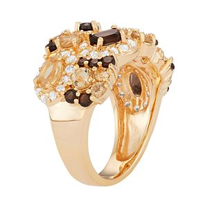 14k Gold Over Silver Gemstone Cluster Ring