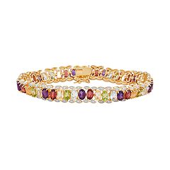 14k Gold Over Silver Gemstone Tennis Bracelet