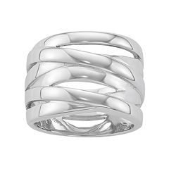 Sterling Silver Polished Crisscross Ring