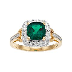 Lab-Created Emerald & Diamond Accent 14k Gold-Plated Silver Square Halo Ring
