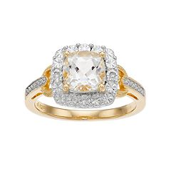 White Topaz & Diamond Accent 14k Gold-Plated Silver Square Halo Ring