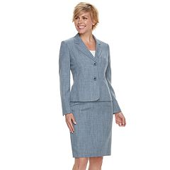 Women's Le Suit Chambray Jacket & Skirt Suit