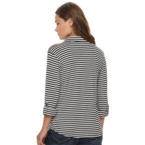 Juniors' Love, Fire Knit Button Front Shirt