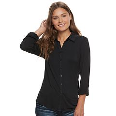 Juniors' Love, Fire Knit Button Front Shirt