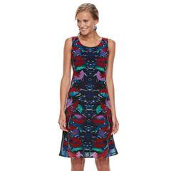 Women's Dana Buchman Print Mesh Overlay Tank Dress