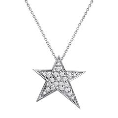 10k White Gold 1/5 Carat T.W. Diamond Star Pendant Necklace
