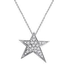 10k White Gold 1/5 Carat T.W. Diamond Star Pendant Necklace
