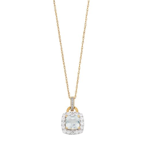 White Topaz & Diamond Accent 14k Gold Over Sterling Silver Square Halo Pendant Necklace