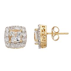 White Topaz & Diamond Accent 14k Gold Over Sterling Silver Square Halo Stud Earrings
