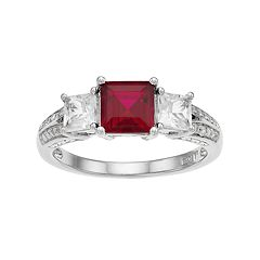 Lab-Created Ruby, White Sapphire & Diamond Accent Sterling Silver 3-Stone Ring