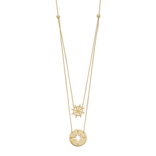 14k Gold Helm & Compass Layered Necklace