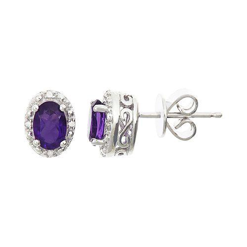 Sterling Silver Stud Earrings Genuine AMETHYST Stud Earrings Boxed