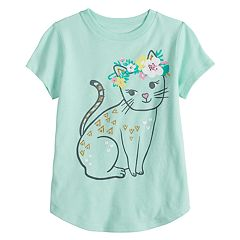Girls 4-10 Jumping Beans® Glittery Cat Graphic Tee
