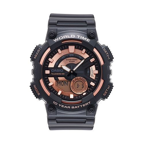 Casio Men's Telememo World Time Analog-Digital Watch - AEQ110W-1A3V