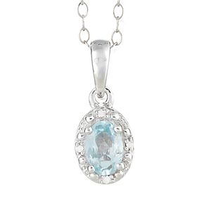 Sterling Silver Aquamarine & Diamond Accent Oval Halo Pendant