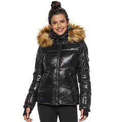 Women's S13 Faux-Fur Hooded Glossy Down Puffer Jacket