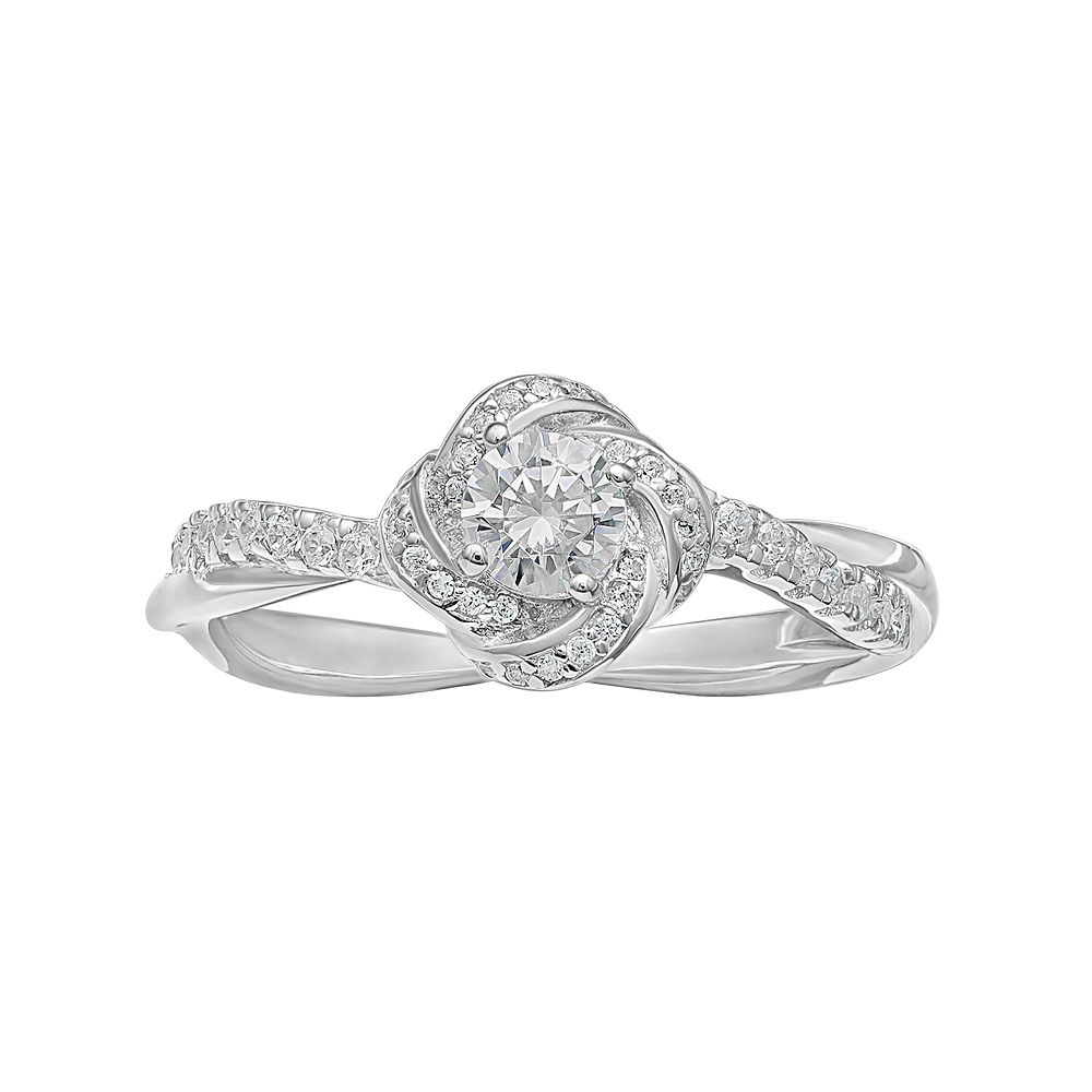 PRIMROSE Sterling Silver Cubic Zirconia Love Knot Ring