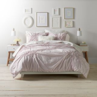 LC Lauren Conrad Floral Ruched Duvet Cover Set