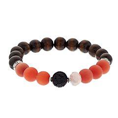 Believe In Pink Glass & Wood Bead Lava Stone Essential Oil Bracelet