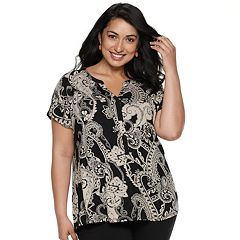 Plus Size Dana Buchman Geometric Placket Top