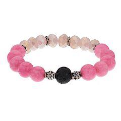 Believe In Pink Glass Bead Lava Stone Essential Oil Bracelet
