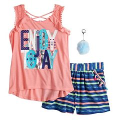 Girls 7-16 Self Esteem Graphic Tank Top & Shorts Set with Pom Keychain