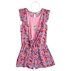 Girls 7-16 Self Esteem Front Tie Romper with Necklace