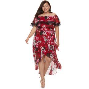 Plus Size Jennifer Lopez Floral Off-the-Shoulder Maxi Dress