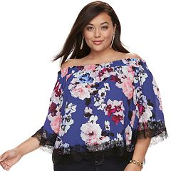 Plus Size Jennifer Lopez Off-the-Shoulder Crepe Top