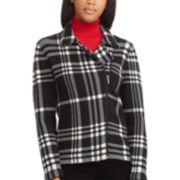 Petite Chaps Asymmetrical-Zip Long-Sleeve Sweater Jacket
