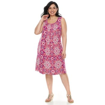 Plus Size Croft & Barrow® Pintuck Sleeveless Dress | Tuggl