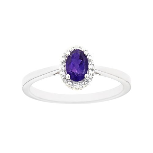 Sterling Silver Amethyst & Diamond Accent Oval Halo Ring