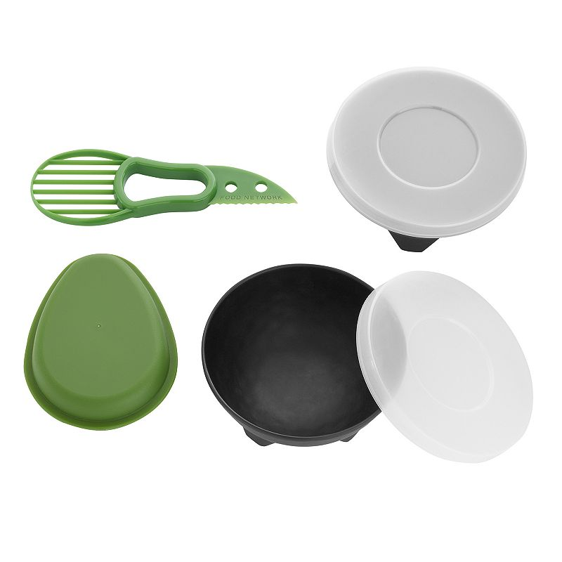 Food Network 4-pc. Prep & Serve Avocado Set For every step from prepping, to preparing and serving guacamole, this avocado set by Food Network is a must-have. 2-in-1 avocado tool with blade and scoop for easy use Storage container preserves sliced avocado Melamine salsa and guac serving dishes add authentic flair to any table WHAT'S INCLUDED 2 melamine molcajetes with lids Avocado tool Avocado storage container Melamine, polypropylene, stainless steel Dishwasher safe - top rack only Size: One Size. Color: Multicolor. Gender: unisex. Age Group: adult.