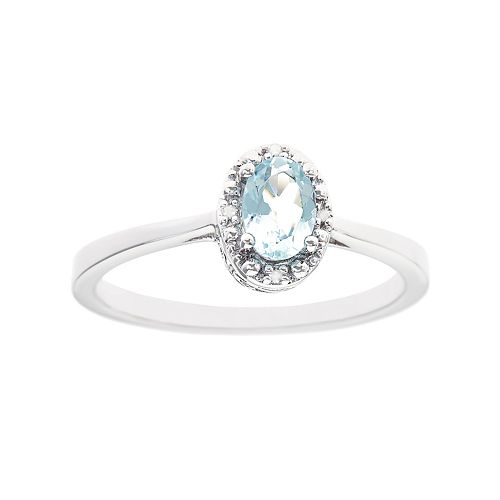Sterling Silver Aquamarine & Diamond Accent Oval Halo Ring
