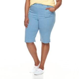 Plus Size Croft & Barrow® Pull-On Skimmer Denim Shorts