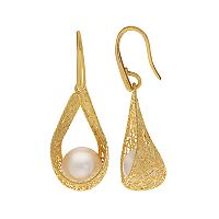 PearLustre by Imperial 14k Gold Freshwater Cultured Pearl Filigree Drop Earrings