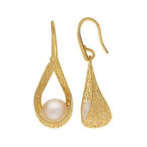 PearLustre by Imperial 14k Gold Freshwater Cultured Pearl Filigree Drop Earrings