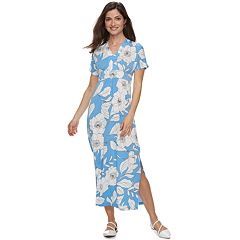Petite Suite 7 Tropical Print Short Sleeve Maxi Dress