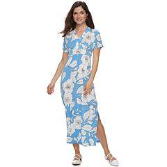 Petite Suite 7 Tropical Print Short Sleeve Maxi Dress