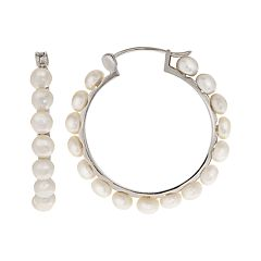 PearLustre by Imperial Sterling Silver Freshwater Cultured Pearl Hoop Earrings