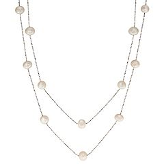 PearLustre by Imperial Sterling Silver Freshwater Cultured Pearl Long Station Necklace