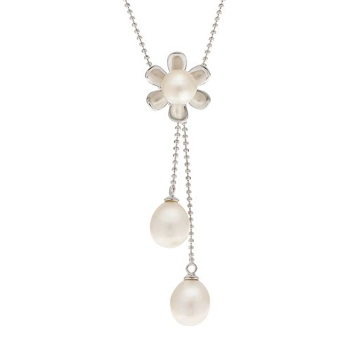 PearLustre by Imperial Sterling Silver Freshwater Cultured Pearl Flower Lariat Necklace