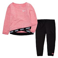 Toddler Girl Nike Dri-FIT Sports Essentials Crossover Long Sleeve Top and Leggings 2-Piece Set